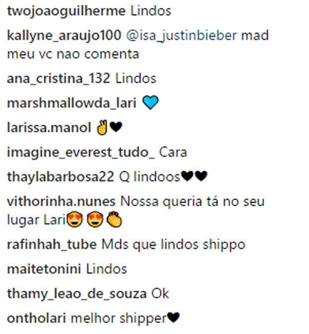 """Fãs """"shippam"""" foto de beijo de Larissa Manoela e Thomaz Costa (Foto: Reprodução/Instagram)"""