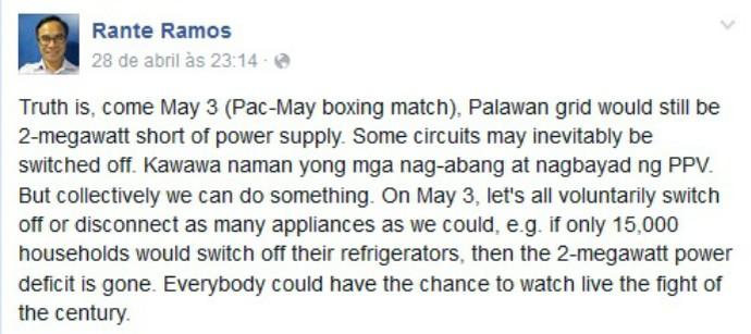 boxe facebook Rante Ramos apagão Mayweather x Pacquiao (Foto: Reprodução / Facebook)