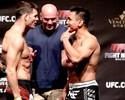 Michael Bisping provoca Cung Le, que sorri na pesagem do UFC Macau