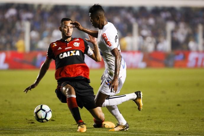 Bruno Henrique, Réver, Santos x Flamengo (Foto: Estadão Conteúdo)