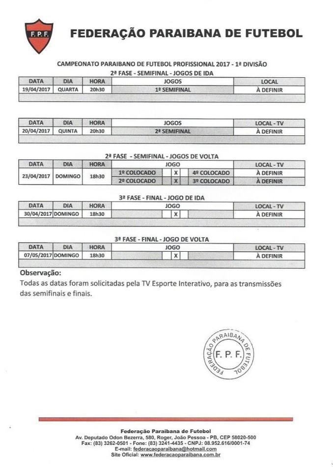 FPF tabela semifinais e finais Paraibano 2017 (Foto: Divulgação / FPF)