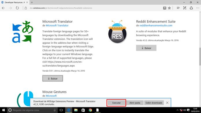 Usuário precisa executar extensão do Microsoft Edge após baixá-la (Foto: Reprodução/Elson de Souza)