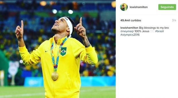 Lewis Hamilton parabeniza Neymar pela medalha de ouro na Rio 2016 (Foto: Reprodução/Instagram)
