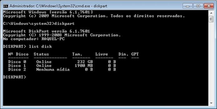 Lista de unidades de armazenamento conectadas ao PC no MS-DOS (Foto: Reprodução/Raquel Freire)