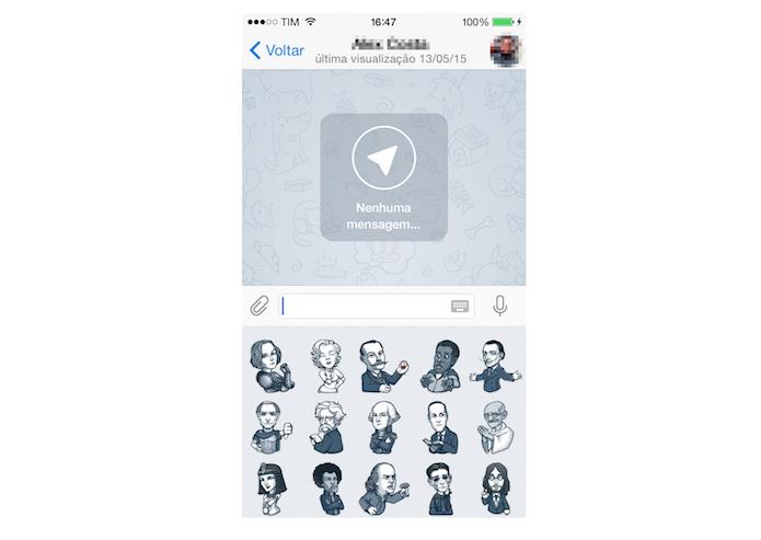 Enviando stickers no Telegram para iPhone (Foto: Reprodução/Marvin Costa)