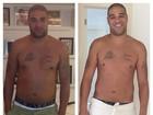 Jogador Adriano mostra barriga e exibe resultado da malhação
