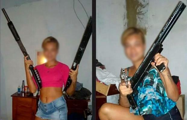 Em uma das fotos e jovem aparece ostentando duas escopetas semelhantes às que foram apreendidas (Foto: Divulgação/Polícia Militar do RN)