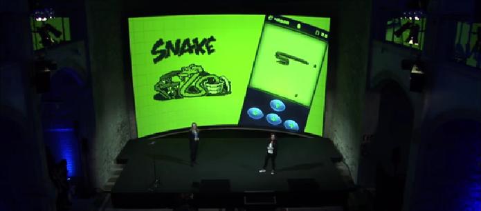 Snake para Facebook Messenger foi revelado na MWC 2017 (Foto: Reprodução/Nokia)