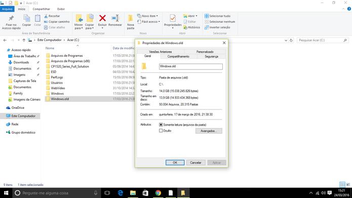 Windows.old é uma pasta que guarda versões antigas do sistema e pode ocupar muito espaço (Foto: Reprodução/Elson de Souza)