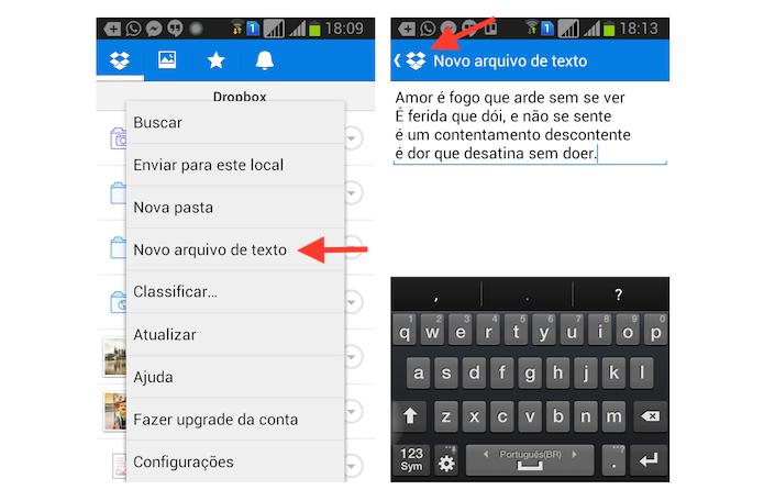 Criando um arquivo de texto no Dropbox para Android (Foto: Reprodução/Marvin Costa)