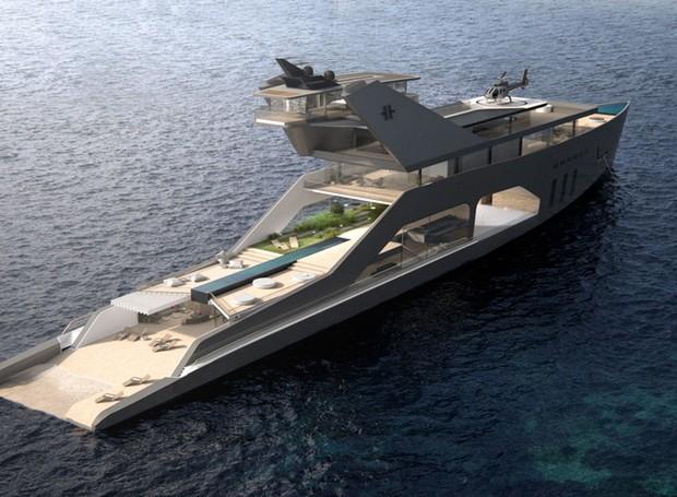 Projeto do estúdio Hareide Design Norway, o Iate 108M terá uma praia privada (Foto: Hareide Design Norway/Divulgação)