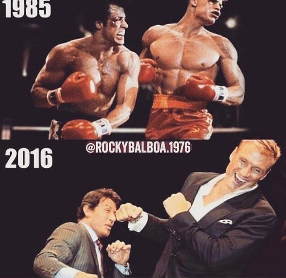 Uma foto compartilhada por Sylvester Stallone mostrando Ivan Drago e Rocky Balboa (Foto: Instagram)