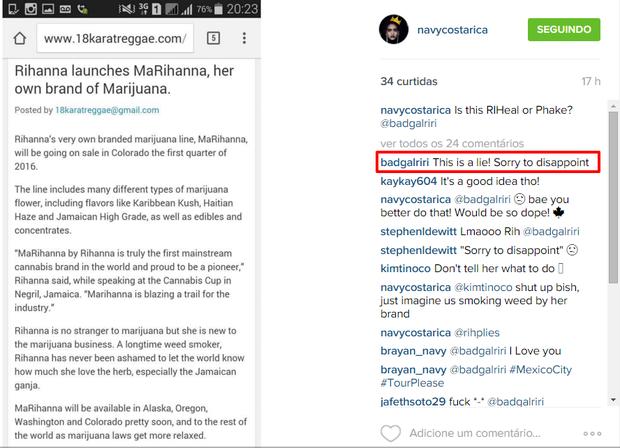 Rihanna nega que vá lançar marca de maconha (Foto: Instagram / Reprodução)