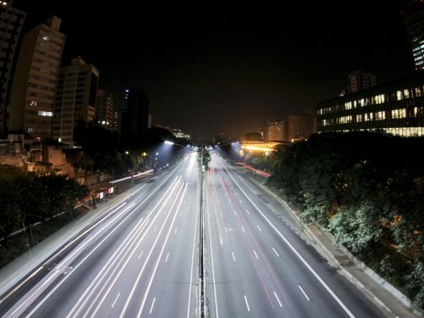 Av. 23 de Maio foi o primeiro ponto na cidade de São Paulo a ter iluminação publica de LED (Foto: Divulgação/Unicoba)