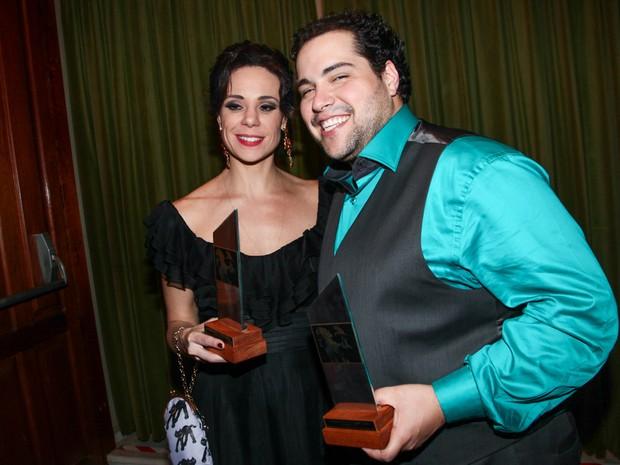 Vanessa Gerbelli e Tiago Abravanel em prêmio de teatro em São Paulo (Foto: Manuela Scarpa/ Foto Rio News)