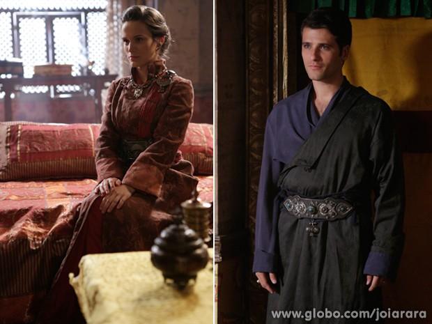 Amélia e Franz tambem se vestiram com trajes locais (Foto: Fábio Rocha/TV Globo)