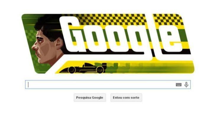 'Doodle' desta sexta-feira é homenagem pelos 54 anos do nascimento de Ayrton Senna (Foto: Reprodução / Google)