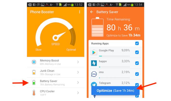 Otimizando o uso da bateria pelos aplicativo instalados no Android com o Super Booster Clean Boost (Foto: Reprodução/Marvin Costa)