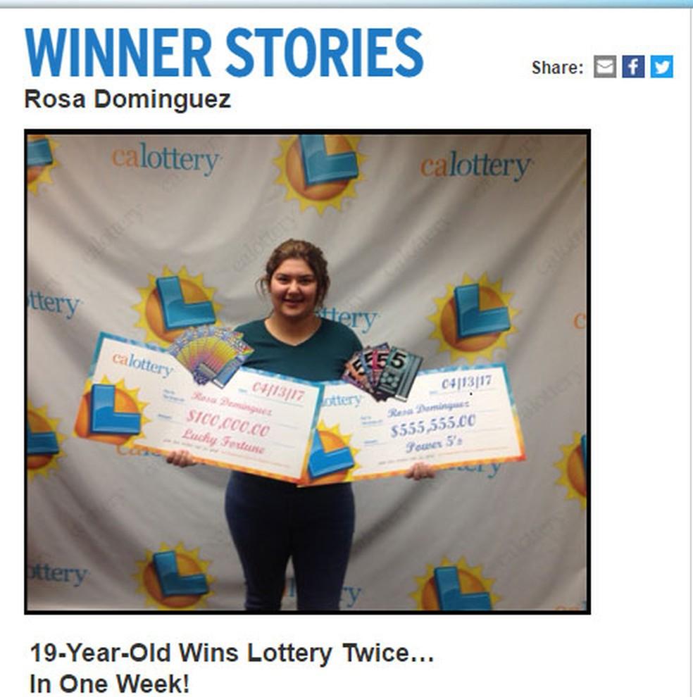Rosa Dominguez comprou dois bilhetes premiados em uma semana (Foto: Reprodução G1/ Calottery)