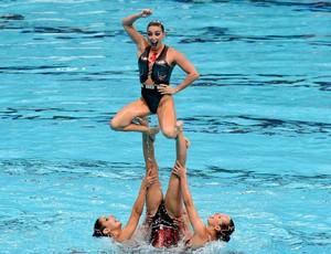 Brasileiras se apresentam na prova de combo do nado sincronizado de Kazan (Foto: Satiro Sodré/SSPress)