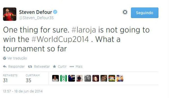 Steven Defour usa o Twitter para provocar a Espanha