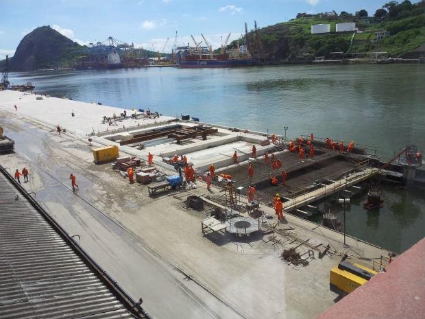 Obras no cais do Porto de Vitória (Foto: Leandro Nossa / G1 ES)