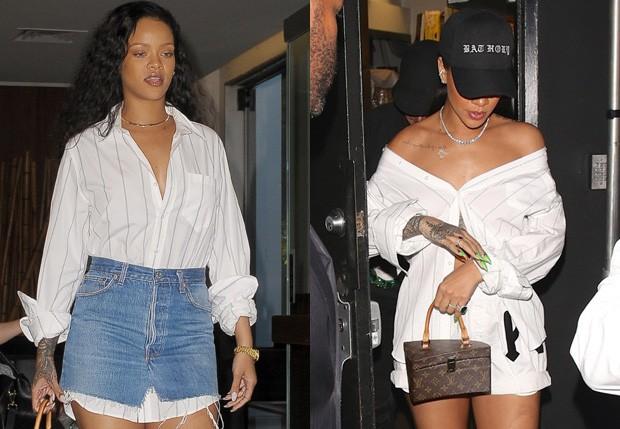 Rihanna repete camisa, que já havia sido usada de jeito inusitado em setembro (Foto: AKM-GSI)