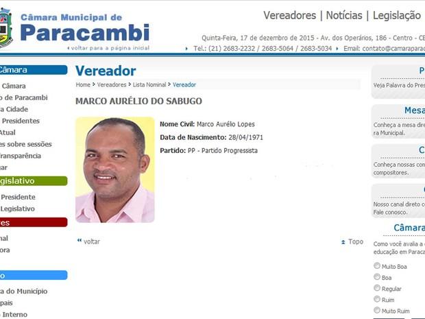 Marco Aurélio Lopes (Foto: Reprodução / Site da Câmara Municipal de Paracambi)