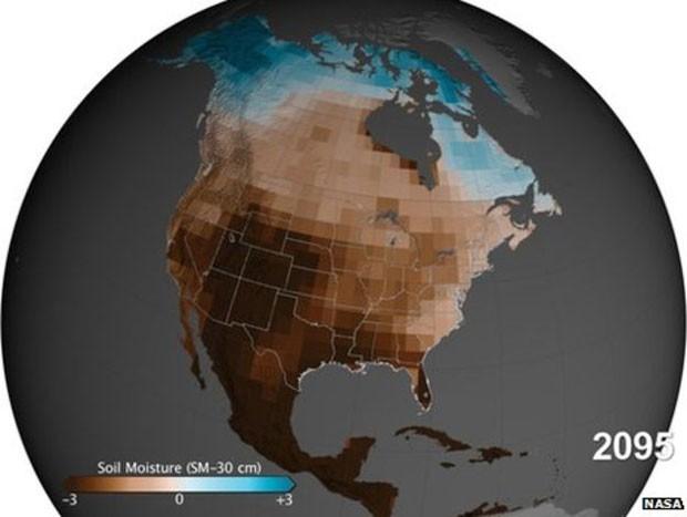 Secas nos próximos anos acontecerão por combinação de redução das chuvas e aumento da evaporação da água do solo  (Foto: Nasa)