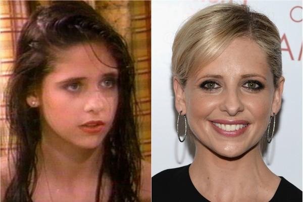 Antes mesmo de ser Buffy, Sarah Michelle Gellar foi Sydney, na série 'Swans Crossing', de 1992  (Foto: Getty Images e Reprodução)