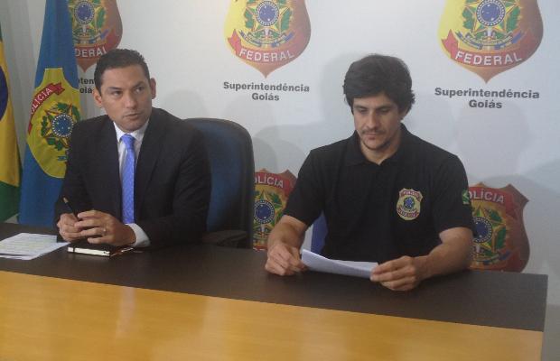 Umberto Ramos de Rodrigues e Pablo Bergmann da Polícia Federal Goiás Goiânia (Foto: Vanessa Martins/G1)