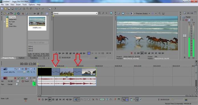 As setas indicam o efeito de câmera lenta marcado no vídeo (Foto: Reprodução/Juliana Pixinine)