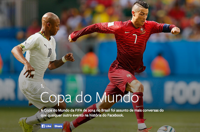 Copa do Mundo de Futebol da Fifa 2014 foi o tema mais comentado do ano no Facebook (Foto: Divulgação/Facebook)