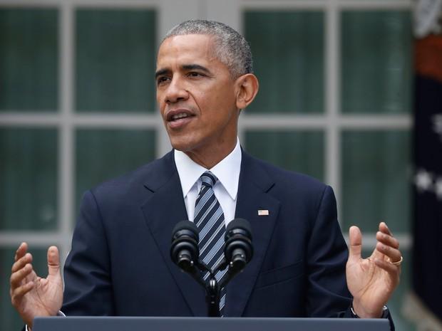 Obama faz discurso nesta quarta-feira (9) (Foto: AP Photo/Pablo Martinez Monsivais)