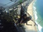 Corajosa! Ex-BBB Kamilla posa no alto da Pedra Bonita, no Rio
