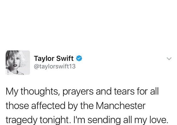 """Taylor Swift: """"Meus pensamentos, minhas orações e minhas lágrimas estão com todos aqueles afetados pela tragédia em Manchester. Mandando todo o meu amor."""" (Foto: Twitter/Reprodução)"""