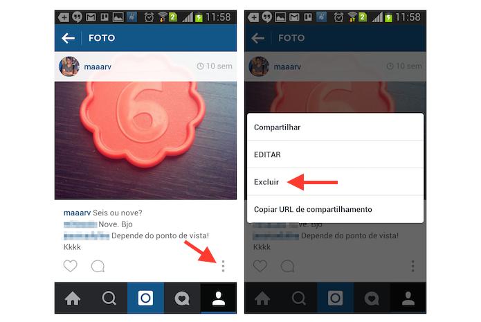 Iniciando a exclusão de uma foto do Instagram através de um dispositivo Android (Foto: Reprodução/Marvin Costa)