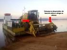 Acidente com suporte de colheitadeira deixa 3 feridos em balsa
