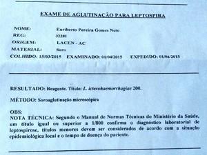 Exame mostra que atleta Euriberto gomes, o Bebeto, morreu por leptospirose (Foto: Cleide Pinheiro/Arquivo pessoal)