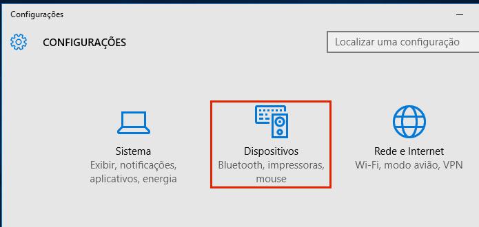Acessando a configuração de dispositivos do Windows 10 (Foto: Reprodução/Edivaldo Brito)