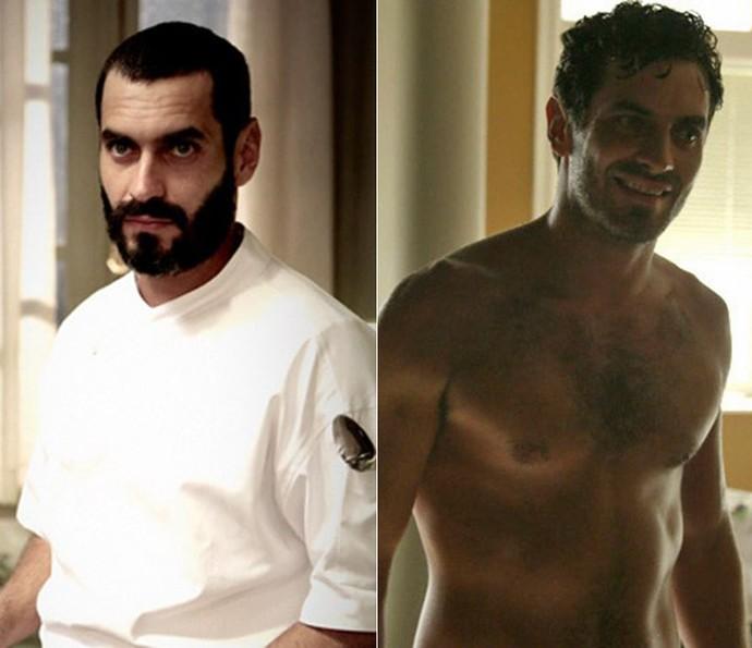 Em O Rebu (à esquerda), Nikolas deu vida à Fininho e em Babilônia (à direita), foi o marceneiro gato (Foto: Gshow)
