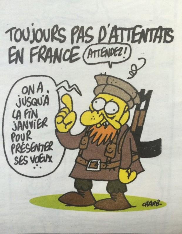 """""""Ainda não existem atentados na França"""" / """"Esperem! Temos até o fim de janeiro para fazer os votos de ano novo."""" (Foto: Reprodução)"""