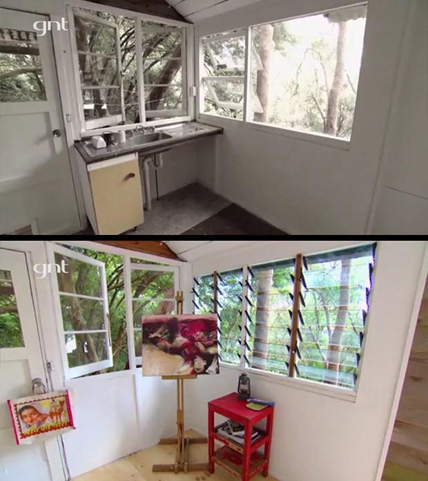 Antes e depois, quarto anexo, quarto externo, rea externa, ateli, quarto de hspede, rei da reforma (Foto: Divulgao/GNT)