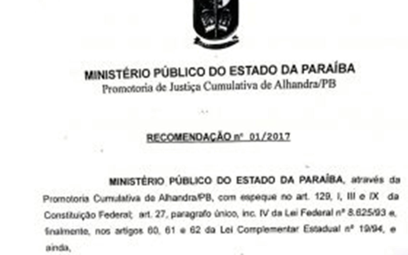Documento foi divulgado na quinta-feira (9) após reunião com prefeito de Alhandra (Foto: Reprodução)