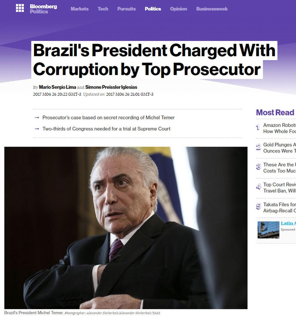 Agência Bloomberg noticia denúncia contra o presidente Michel Temer (Foto: Reprodução/ Bloomberg)