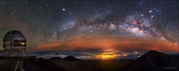 Outro fotógrafo chinês Alvin Wu, levou o prêmio na categoria Luz . O arco ascendente da Via Láctea foi observado em Mauna Kea, no Havaí (Foto:  Alvin Wu)