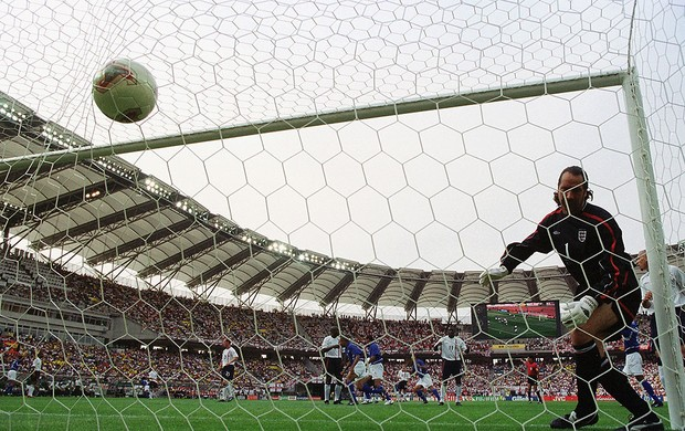 david seaman brasil Inglaterra copa do mundo 2002 (Foto: Agência Getty Images)