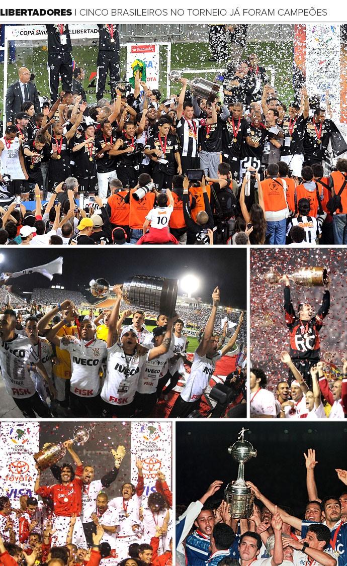 Mosaico Libertadores Brasileiros (Foto: Editoria de arte)