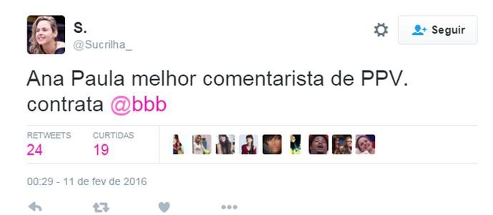 Ana Paula BBB 16 Twitter (Foto: Reprodução/Internet)