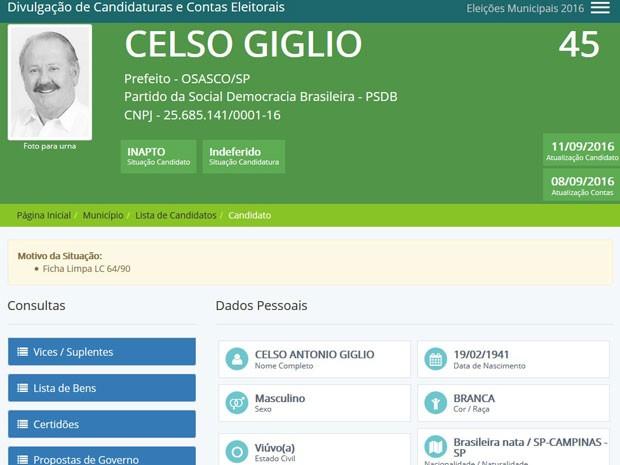 Celso Giglio, do PSDB, teve candidatura à Prefeitura de Osasco indeferida pela Justiça (Foto: Reprodução/TSE)